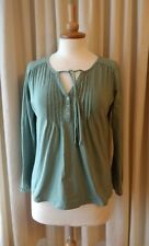 BODEN size UK10 EU36 US6 long-sleeved cotton smock top BoHo ~ light jade green ~
