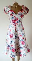 Lindy Bop Dress 14 Cream Red Pink Floral Stretch Cotton Fit & Flare Flawless