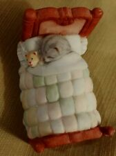 Kitty Cucumber Cat Sleeping in Bed with Teddy 1990- Schmid - Shackman No Box
