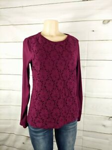 Talbots  front eyelets sweater top size large purple plum