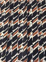 GLENTEX Vintage Silk Scarf Abstract Pattern Dark Navy Brown Cream