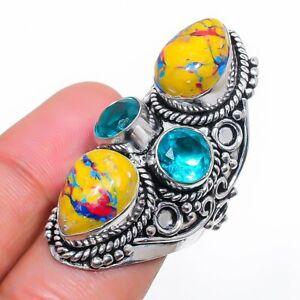 Mosaic Jasper, Blue Topaz Gemstone 925 Sterling Silver Jewelry Ring Size 7 z701