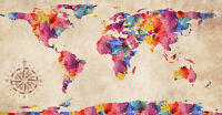 "World Map Modern Grunge Watercolor Abstract Art CANVAS PRINT 24""X 36"" #3"