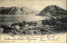 Lugano Tessin Schweiz Postkarte 1903 gelaufen Panorama Blick auf San Salvatore
