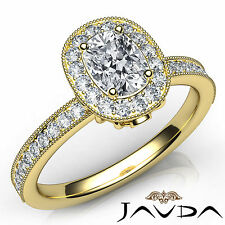 Halo Cushion Diamond Pave Engagement Ring GIA G VVS2 Clarity 18k Yellow Gold 1Ct