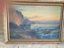 vintage oil painting signed by WISE,COASTAL SEASCAPE WITH ROCKS,16 by 24 + frami