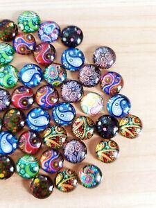20 x Muster Goa Cabochons zum Basteln/Schmuckherstellung Glas Rund Ø 12mm