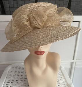 Bhs 100% Straw Small Brim Sinamay Bow Twist Design Trim Wedding Races Hat