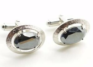 Anson Sterling Silver Hematite Cufflinks Oval Brush Textured Finish