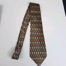 Van Heusen Mens Tie Blue Brown 100% Silk Long