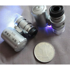 LED Mini 60X Jewelry Loupe Lighted Magnifier Microscope +Currency Detecting 7308