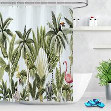 "71"" Tropical Flamingo Palm Leaves Waterproof Fabric Shower Curtain Set 12 Hooks"