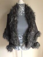 Urban Mist Womens Open Front Cardigan Size 14-16 Grey Fur Collar Trim Acrylic