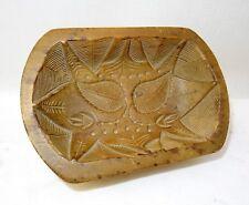 moule à beurre ancien semi rectangulaire à décor de feuille - art populaire