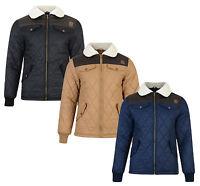 Kangol Padded Quilt Jacket New Sherpa Fleece Fur Collar Coat Black Beige Blue