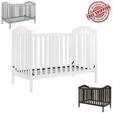 White Convertible Baby Crib 2 in 1 Wood Frame Baby Toddler Brown Gray Infant Bed