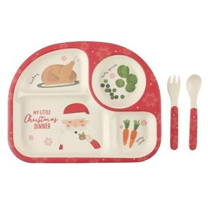 My Little Christmas Dinner Bamboo Plate And Cutlery Set