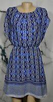 THE LIMITED Blue White Black Pattern Blouson Waist Dress Small Split Cap Sleeve