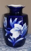 Colbalt Blue Porcelain Vase w/white Flowers and Gold trim.Made in Japan