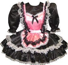"""Abagail"" Custom Fit Black & Pink SATIN MAID Adult LG Sissy Dress LEANNE"