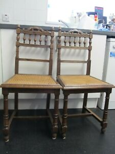 PAIR (2) VICTORIAN HANDMADE? OAK? CARVED ORNATE RATTAN SEAT CHAIRS DINING HALL