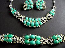 Vintage Marboux Boucher Necklace Bracelet Ear Set Rhinestone Faux Turquoise