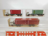 CA254-0,5# 3x Wiking 1:87/H0 Container-Sattelzug MB: 524 CTI + 526 Clou NEUW+OVP