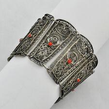 Vintage ornate filigree wide sterling silver panel bracelet Accents Red Corals