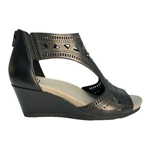 Earth Black Leather Comfort Shoes Wedges Size AU 8 EU 39