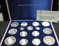 Beautiful (15) piece 1970 Republic of Equatorial Guinea .999 Silver Coin Set