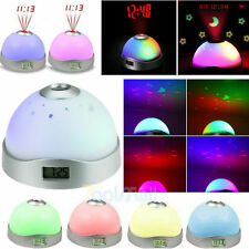 Digital LCD Alarm Clock Time Projection Colorful LED Flash Light Night Light US