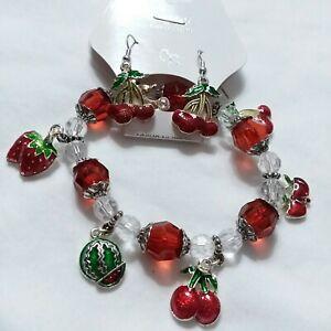 Cherry Bracelet And Earrings Set Z08