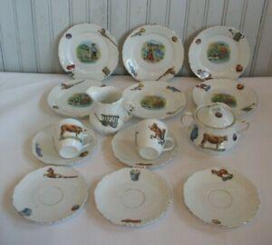 Vtg 15 pc set TOY Porcelain tea set c1900 Toys Dog Cow Fruit wagon Childs play