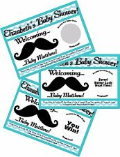 BLUE CHEVRON MUSTACHE SCRATCH OFF OFFS PARTY GAME GAMES CARDS BABY SHOWER FAVORS