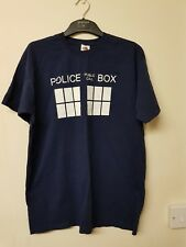 ladies blue short sleeved police box t-shirt by fruit of the loom size M