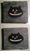 Black Cat Halloween Decoration German Old Wood New Folk Art Pop Lowbrow Painting