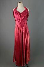Vtg Women's 30s 40s Long Red Satin Evening Gown Sz M 1930s 1940s Dress