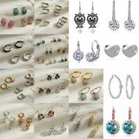 Women Crystal Rhinestone Dangle Drop Ear Stud Wedding Fashion Earrings Jewelry