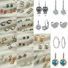 Women Crystal Rhinestone Dangle Drop Ear Stud Wedding Fashion Earrings Jewelry