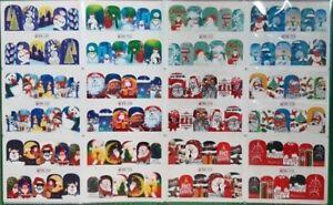 12 designs winter christmas style snowflake nail art water transfer sticker