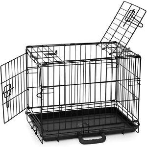 Precision Pet ProValu Indoor & Outdoor Double Door Wire Kennel Dog Crate, Black
