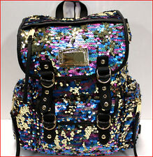Juicy Couture Designer PURPLE BLUE GOLD SEQUIN Large Backpack - Purse Tote =NEW