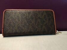 Designer Inspired Faux Leather Wallet Single Zip Around VK Brown