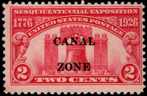 Canal Zone - 1926 - 2 Cents Carmine Rose Liberty Bell Issue # 96 Mint Fine Fresh