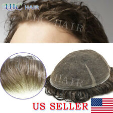Soft Full Swiss Lace Transparent Brown Human Hair Mens Toupee Replacement System