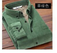 Men's Winter Casual Corduroy Fur Lined Shirts Warm Tops Long Sleeves Coats