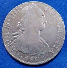 1808 Mo TH Mexico 8 Reales Silver Coin CAROLUS IIII
