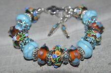 European Murano glass bead Handmade Southwestern Inspired charm bracelet USA