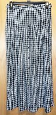 C & A CANDA Ladies Black & White Checked Long Skirt Size S Has Buttons, Zipper
