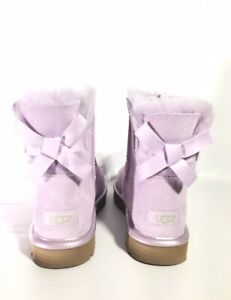 UGG MINI BAILEY BOW II METALLIC LAVENDER FOG SUEDE ANKLE BOOTS SIZE US 10 NEW